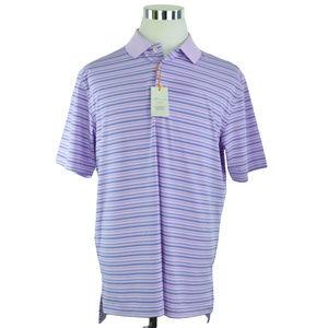 Peter Millar Mens Polo Shirt L Lilac Purple Blue